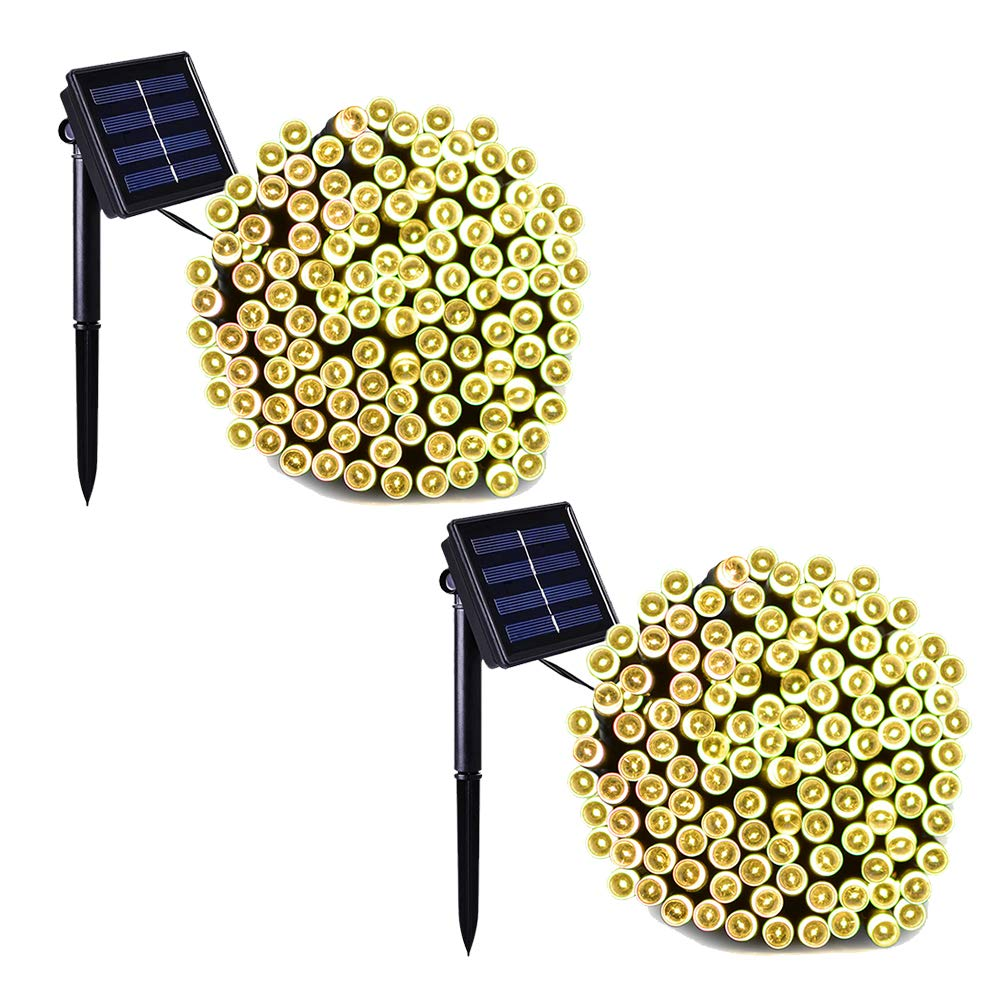 Binval Solar Fairy Christmas String Lights, 2-Pack 72ft 200LED, Ambiance Lighting for Outdoor, Patio, Lawn, Landscape, Fairy Garden, Home, Wedding, Holiday Party and Xmas Tree(Warm White) by Binval