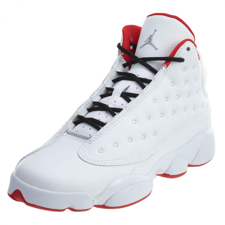 Nike Air Jordan 13 Retro BG Big Kid's Basketball Shoes White/Metallic Silver/University Red, 6 by Jordan