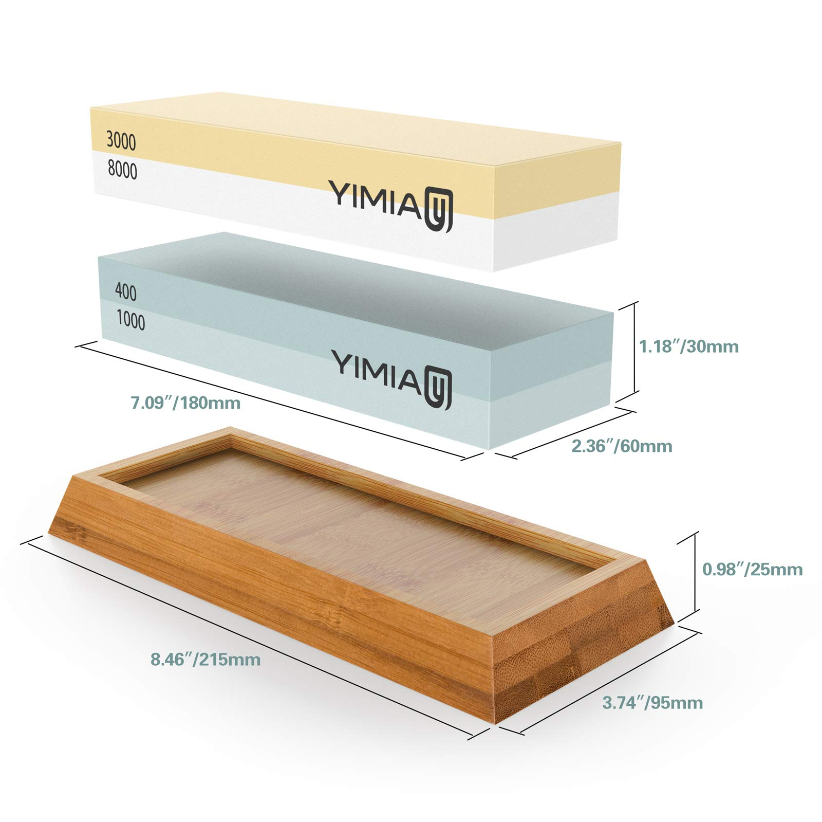 Sharpening Stone Kit, YIMIA 4 Side Grit 400/1000 3000/8000 Whetstone, Knife Sharpener Waterstone with Non-Slip Bamboo Base & Flattening Stone & Angle Guide by YIMIA (Image #1)