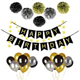 38PCS Happy Birthday Party Decorations Set with Happy Birthday Banner,6pcs Black Gold Silver Fluffy Pom Poms with 30pcs Ultra Thickness Balloons