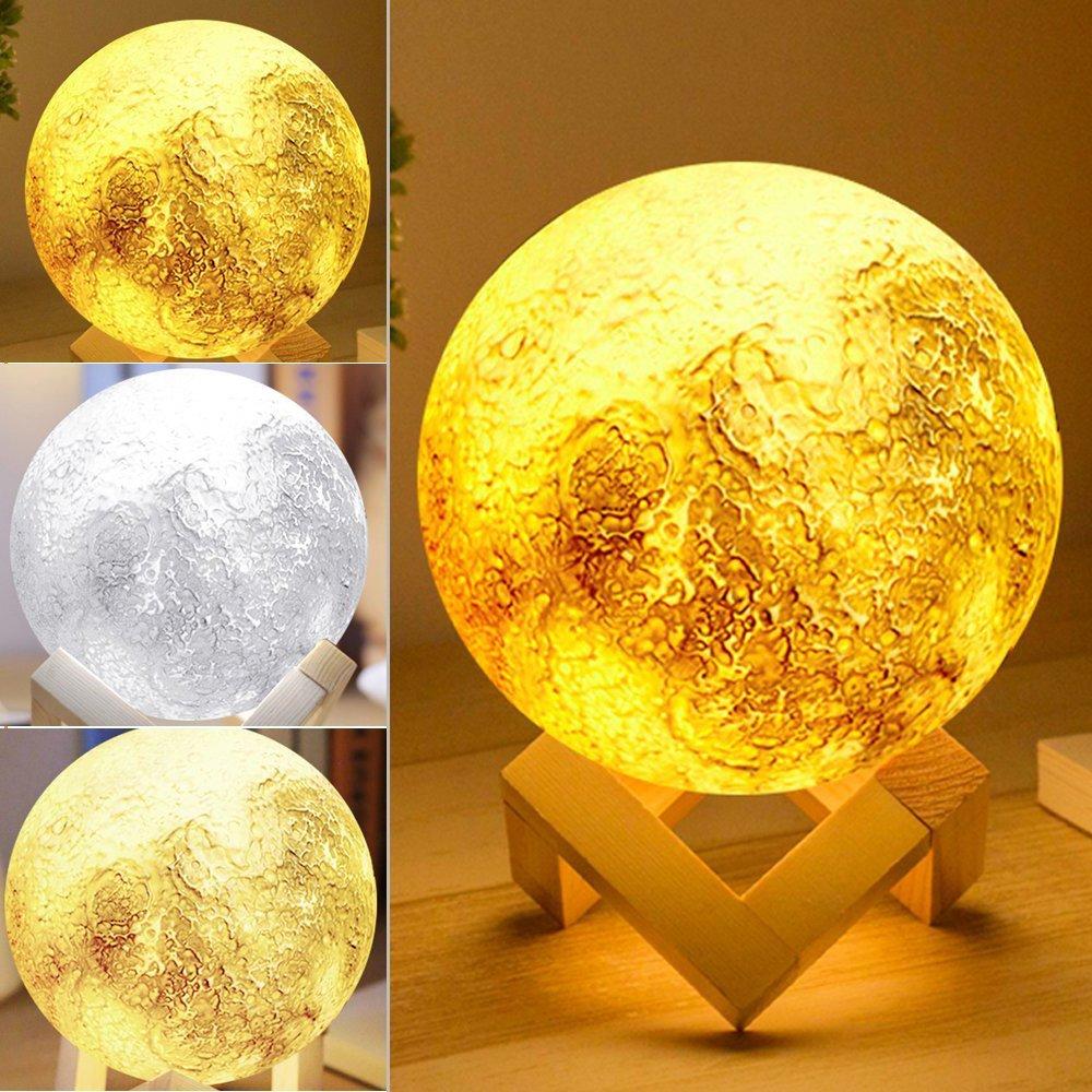 SAYOU Lune Lampe 3D, 5.1 inch Lune Lumiere/Lampe De Nuit/luminosité et Couleur réglables Art Deco pour Maison Chambre (Button Switch) UKJS-PH9400033LIT1115