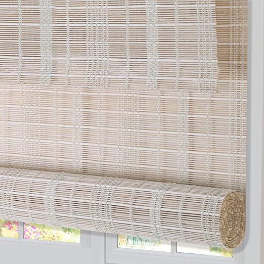 ZY Blinds Bamboo Window Blinds Sliding Doors Porch Brown Premium Light Filtering UV Protection Roll Up Window Shades with Valance for Doors