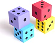 Foam dot dice, Large, 4pcs/Pack. Square, Assorted Colors - Great for Playing Games - for Kids Boys and Girls Party Favors, B