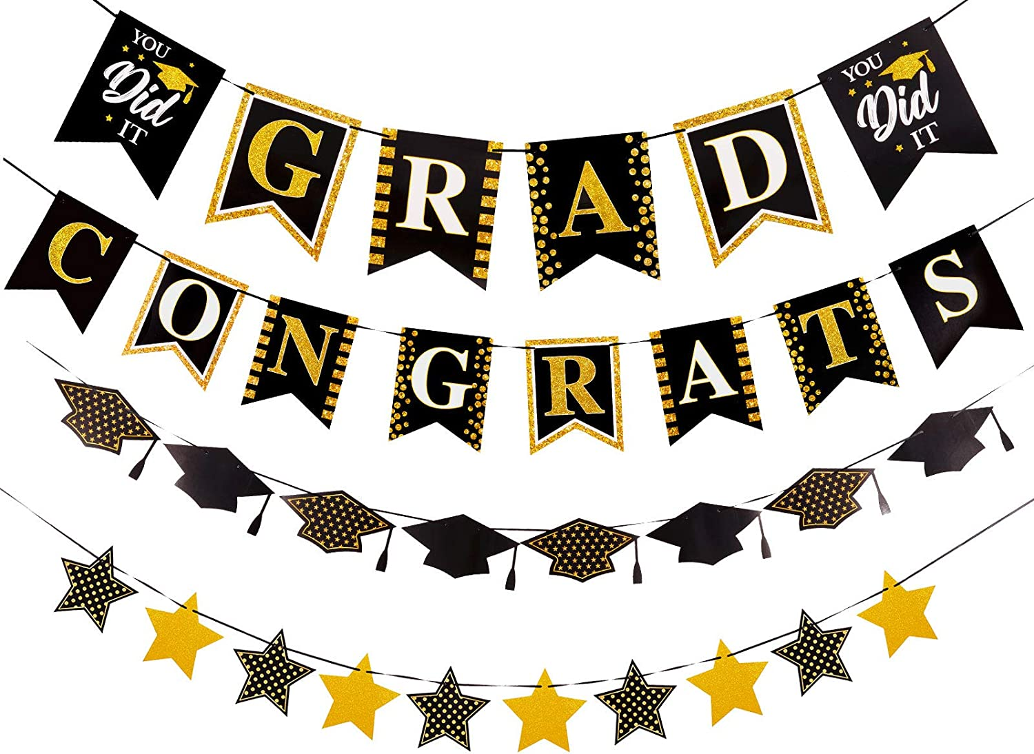 Whaline 4Pcs Graduation Banner Glitter Gold Congrats Grad Banner Graduation Cap Star Bunting Garland No DIY Required Grad Party Decoration Supplies for Home Mantle Fireplace Window