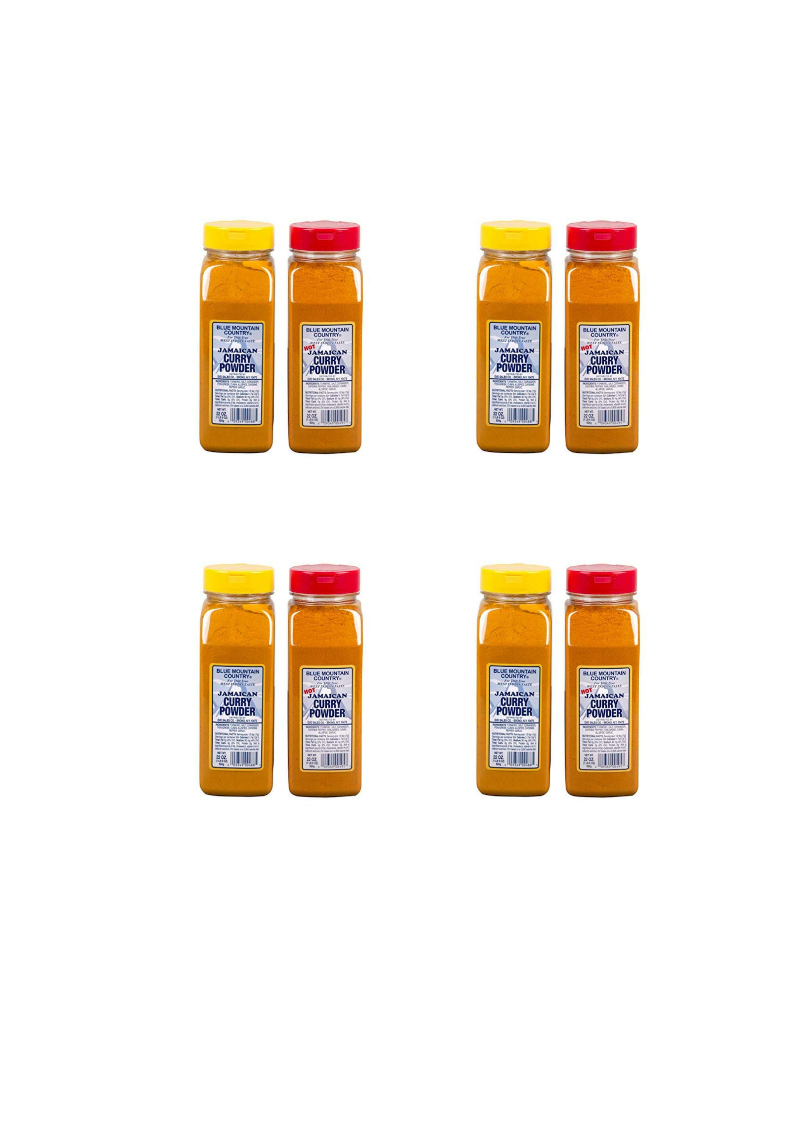 Blue Mountain Country Jamaican Curry and Hot Curry Powder, 22 ounce (8 pack)