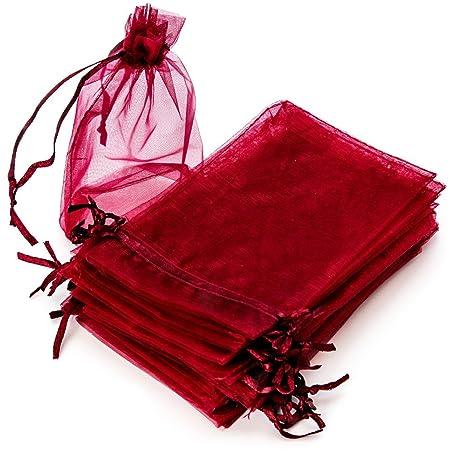 RUBY - 50 Piezas Bolsas de Organza para Fiesta de Boda / 10cm x 15cm / Saquitos/Bolsitas Regalo Joyeria Envio Desde ESPAÑA (Granate)