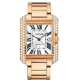 4ceb6200e54f Amazon.com  Cartier 18k Rose Gold   Diamond Tank Anglaise Men s Watch  WT100004  Watches