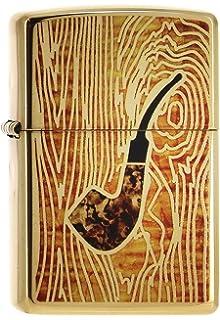 Zippo Pipe IN FUZION-Brass High Polish Encendedor, Cromado, Negro, 5.8 x