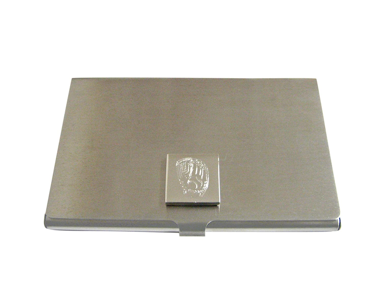 Silver Toned Etched Baseball Glove Business Card Holder