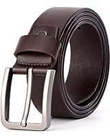 XIANGUO Cintura Uomini perno della cinghia di cuoio fibbia Antik cinghia casuale in bianco e marrone