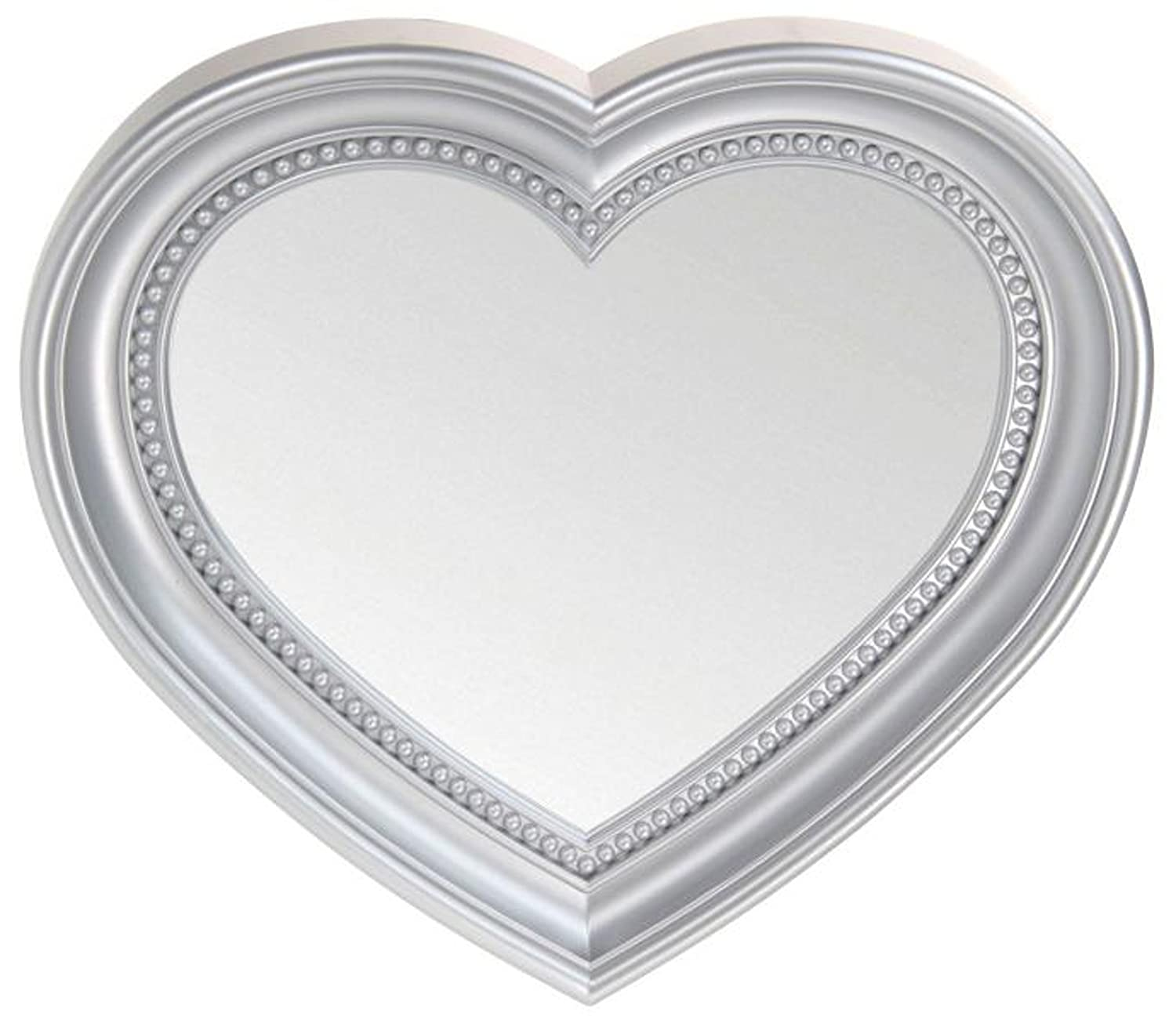 Heart Shaped Wall Hanging Mirror, Silver 35cm West5Products