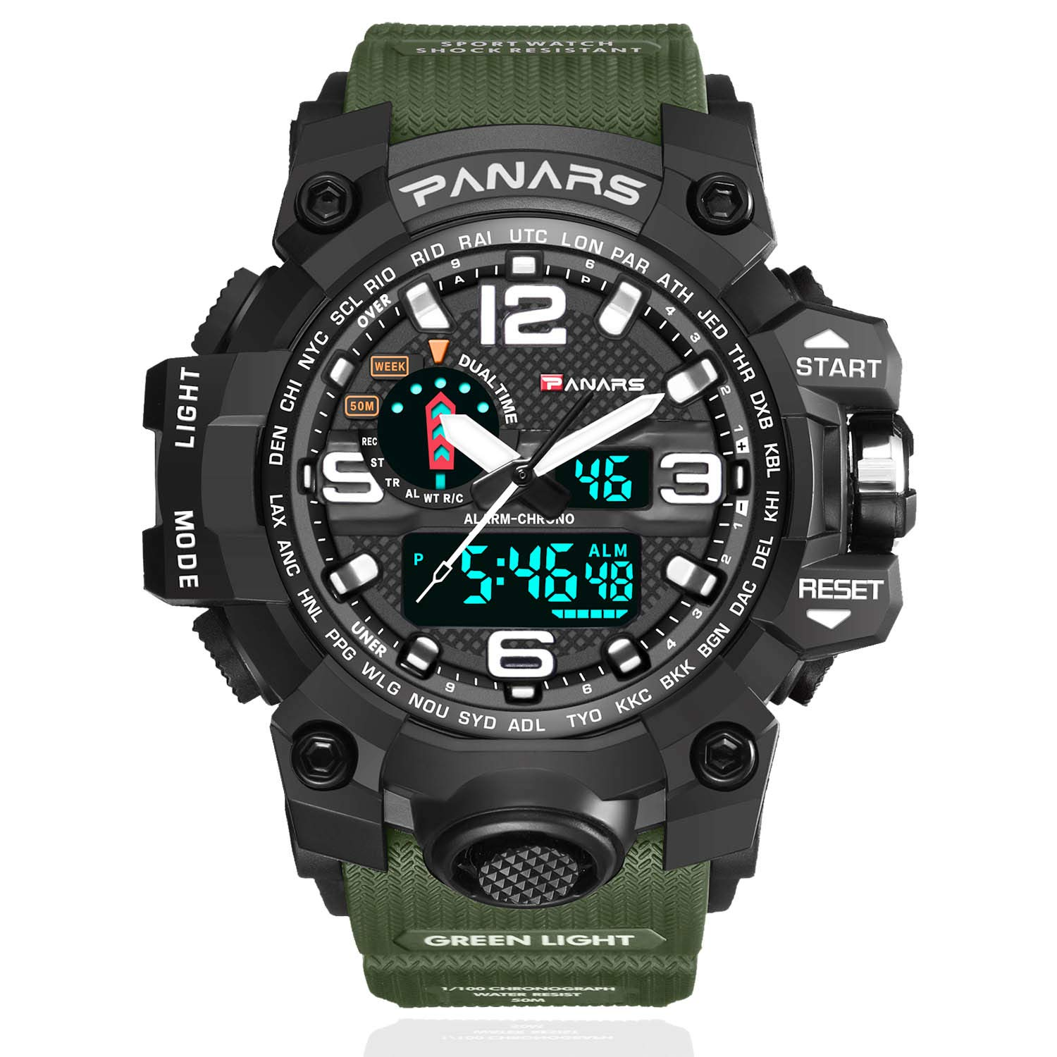 Watches Swim 50m Waterproof Watch Outdoor Sports Men Watches Quartz Electronic Dual Display Military Style Multifunction Male Luminous A Attractive Fashion