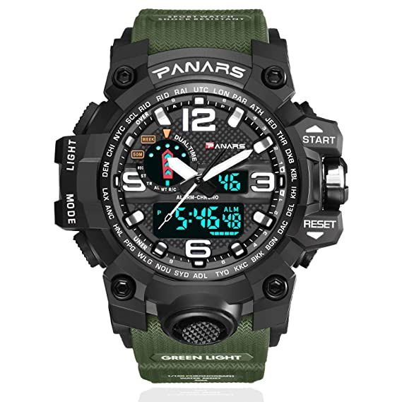 9c14ed726 Men Military Digital Sports Watch - Men's Tactical Waterproof Outdoor Multi  Function Watches Big Analog Quartz Dual Display Wristwatch with LED  Backlight ...