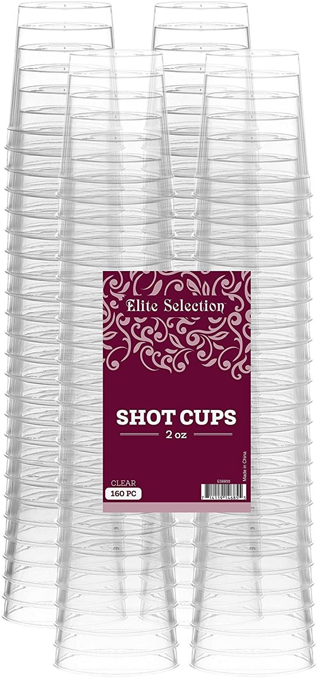 Elite Selection Shot Glasses | 2 Oz. Clear Plastic Disposable Cups | Perfect Party Shot Cups for Shots, Tasting, Sauce, Dips | Pack of 160