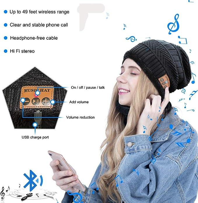 Berretto Uomo Invernali Sciarpa Donna Berretti Musica Senza Fili Beanie Stereo per Running Sci Sportivo MEETYOO Cappello Bluetooth