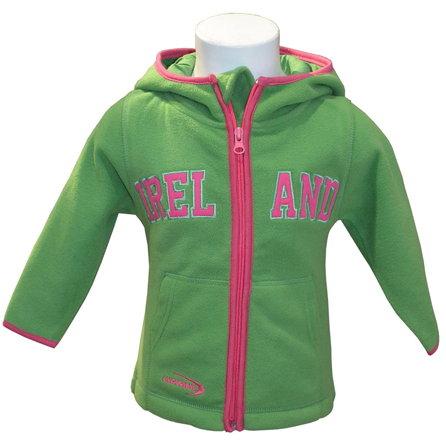 Emerald Green Full Zip Hoodie With Pink Trim Design And Ireland Text