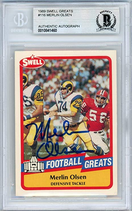 5b16fea1 Merlin Olsen Autographed 1989 Swell Card #116 Los Angeles Rams ...