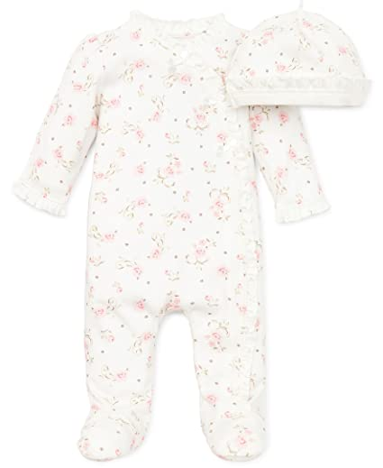 Layette Footie Rose Floral Ivory Print