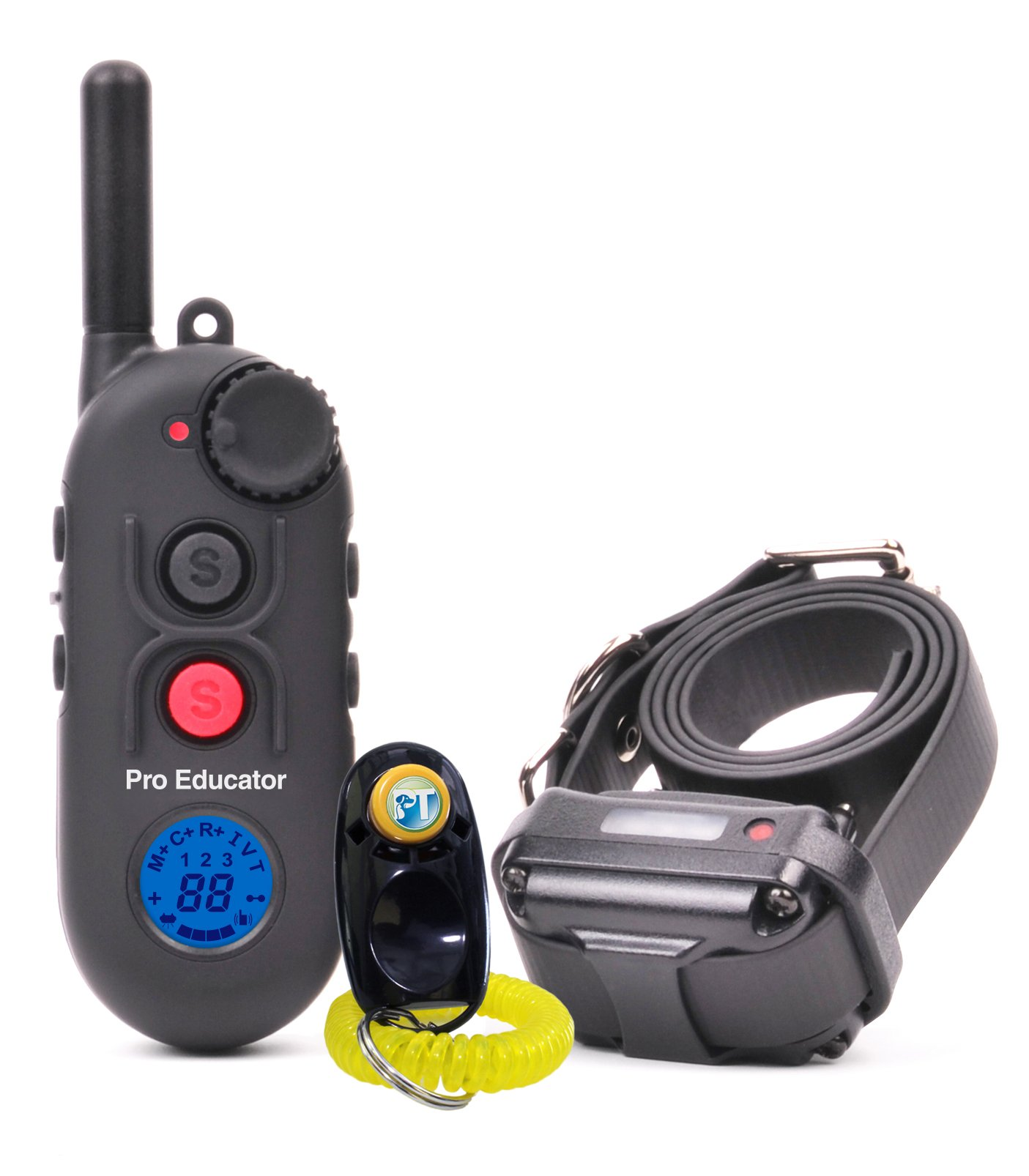 Bundle of 2 items - E-Collar - PE-900 - 1/2 Mile Remote Rechargeable Waterproof Trainer Pro Educator - Static, Vibration and Sound Stimulation collar with PetsTEK Dog Training Clicker