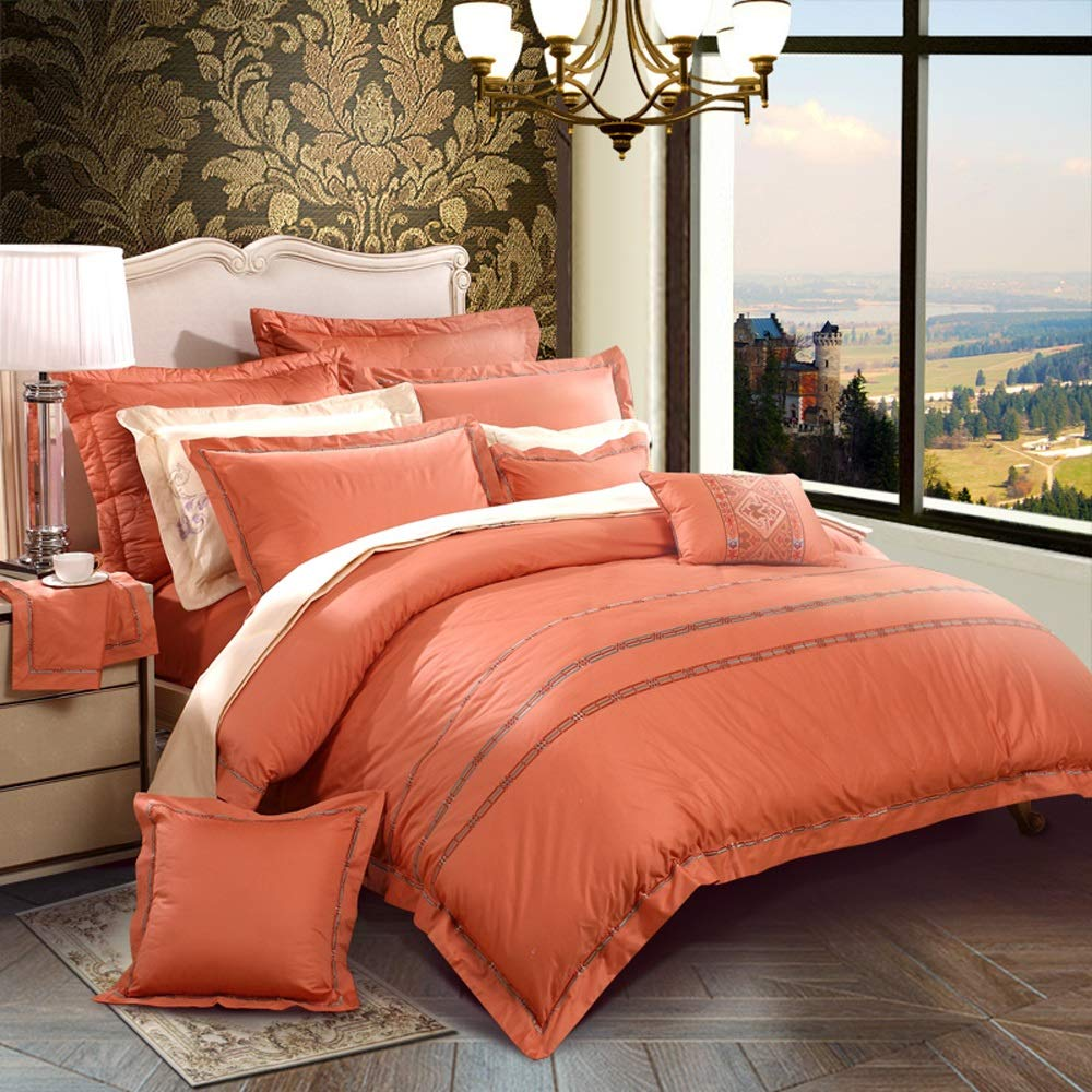 Cotton Four-Piece Set - Cotton Simple European Double Bed - 1.8m Bed Satin Solid Color Kit