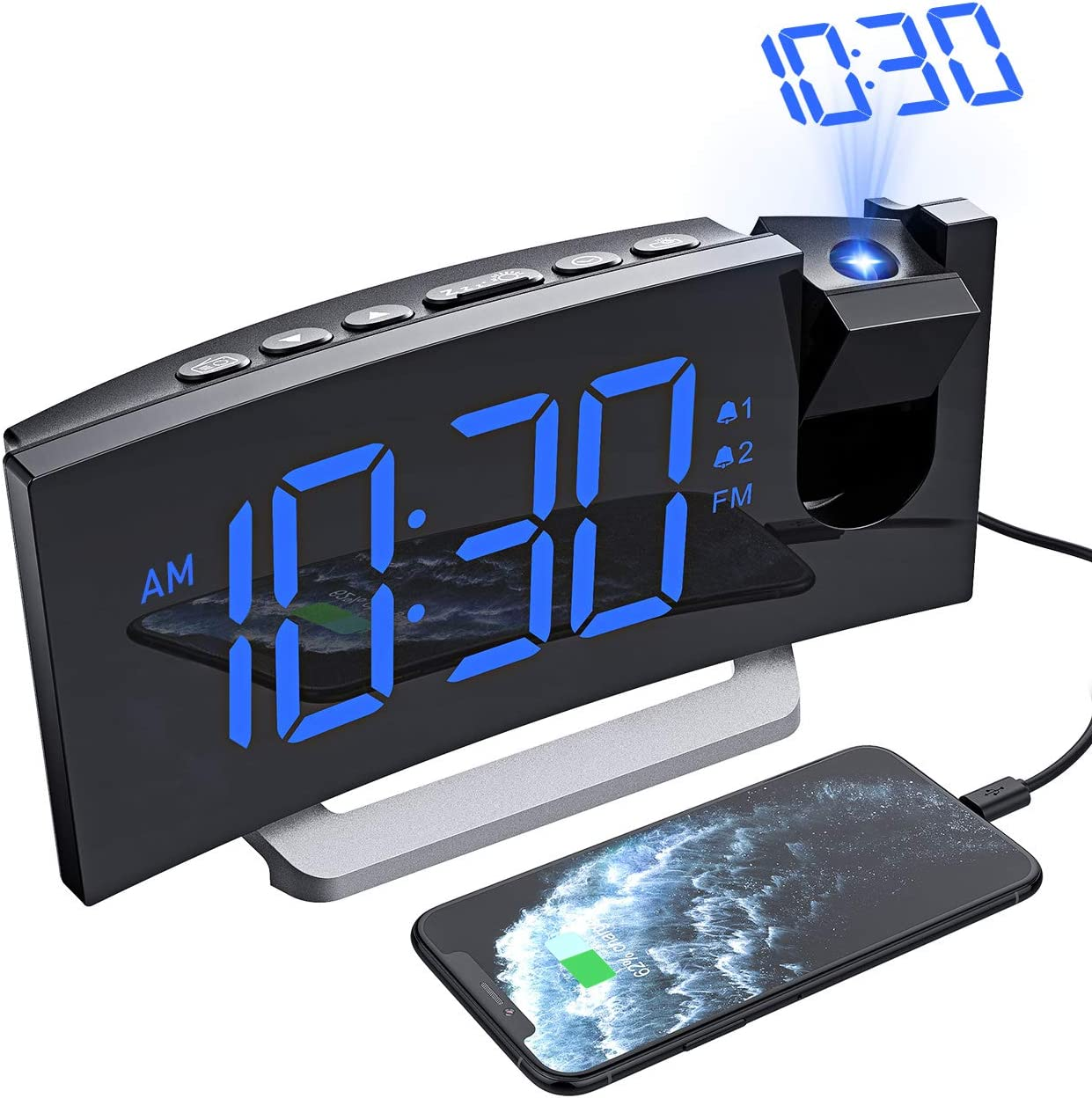 Mpow Projection Alarm Clock, Radio Digital Clock with USB Charger, 0-100% Full Range Brightness Dimmer, Dual Alarm Clock with 5 Sounds for Heavy Sleeper, Snooze