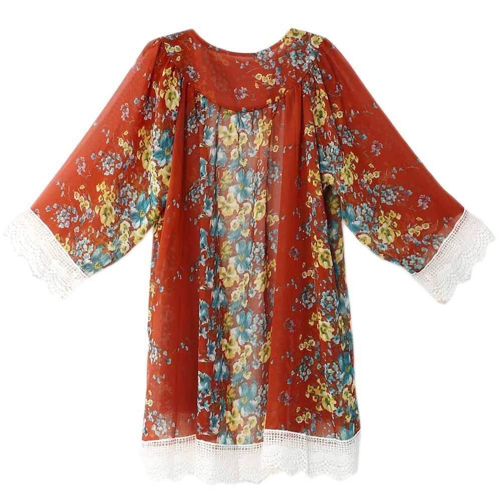 Cardigan Mujer Verano Moda Encaje Splice Chiffon Mangas 3/4 Kimono Elegantes Vintage Floreadas Anchos Casuales Dama Outerwear Blusas Camisas Mujer Fiesta: ...