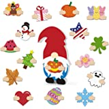 Huray Rayho DIY Wooden Gnome with Detachable Magnet Wood Patches Interchangeable Cutouts Kit Seasonal Craft Chunky Gnome…