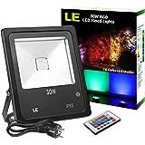 LE Foco LED RGB proyector, 30W Floodlight Luces Exteriores, Multicolor, Resistente al agua IP65, para navidad, fiestas, bodas, jardines etc.
