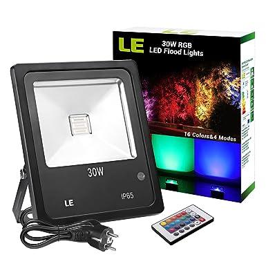 LE RGB Strahler, 16 Farben und 4 Modi Flutlicht mit Fernbedienung, IP65 wasserdicht LED Fluter, 30W Mehrfarbig Deko Außenstra