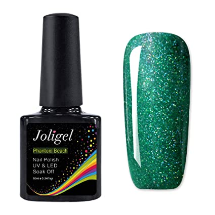 JOLIGEL Effetto Stellato Smalti Semipermanente Gel per Unghie Nail Polish  UV LED 10ml, Manicure Pedicure Soak Off, Pura Resina Naturale Non Tossico,  Verde