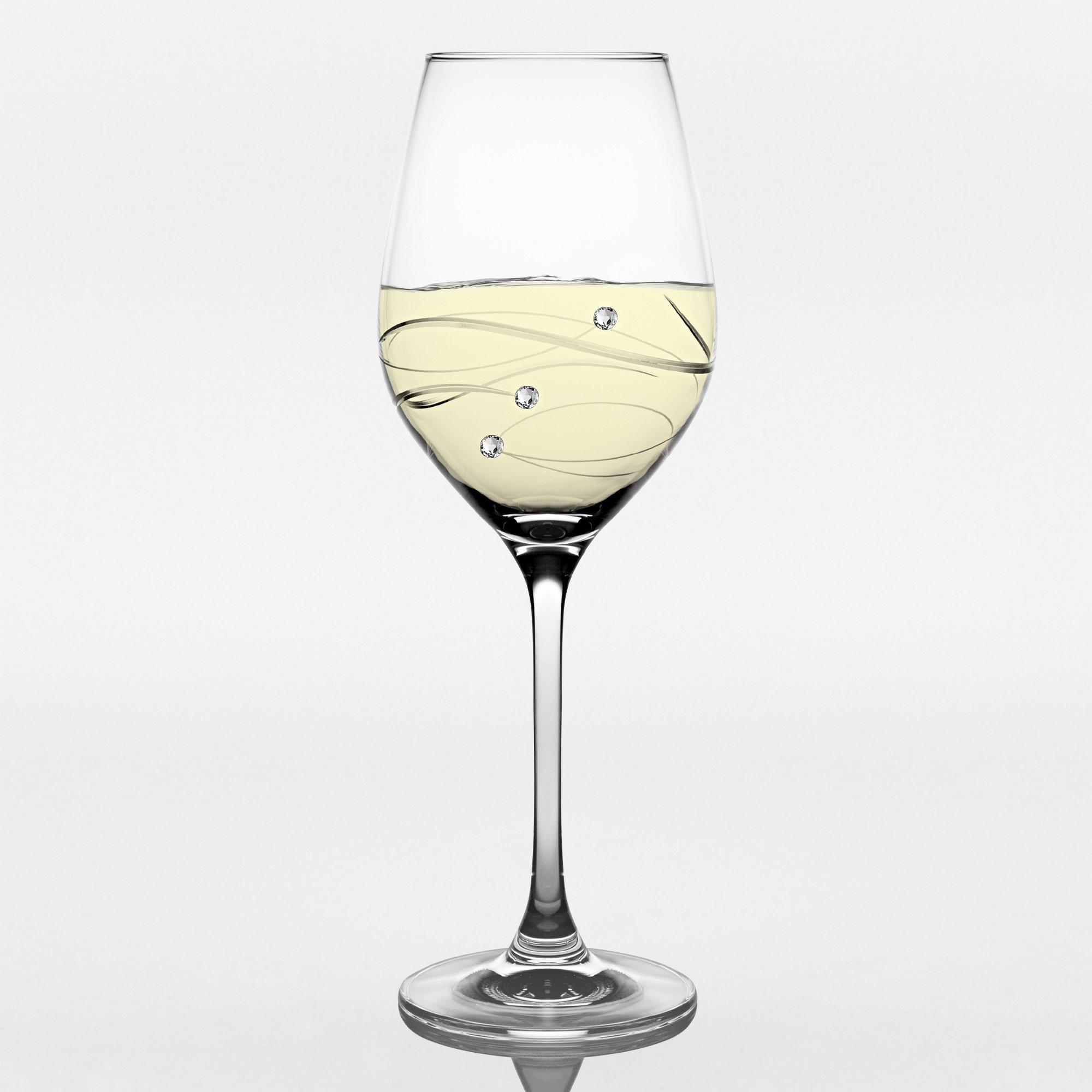 Barski - Handmade Glass - Sparkle - White Wine Glass - Decorated with Real Swarovski Diamonds - Gift Boxed - 12.5 oz. - Made in Europe - Set of 4