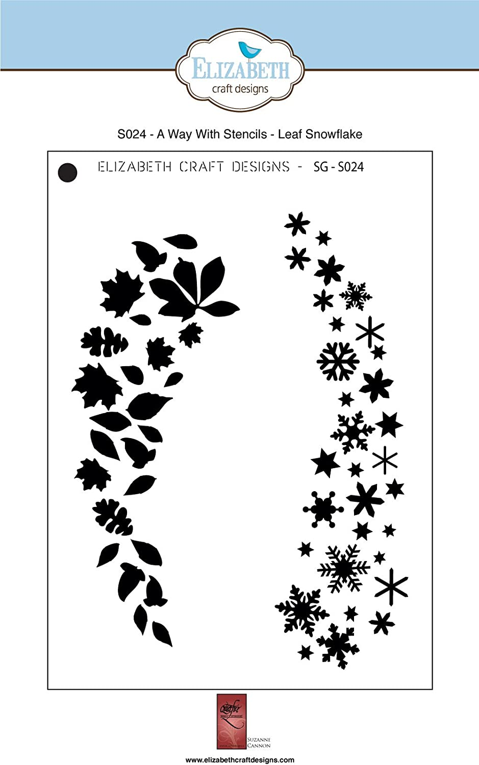 "ELIZABETH CRAFTS DESIGN A Way with Stencils LEAF SNOWFLAKE 5 x 7/"" ECDS024"