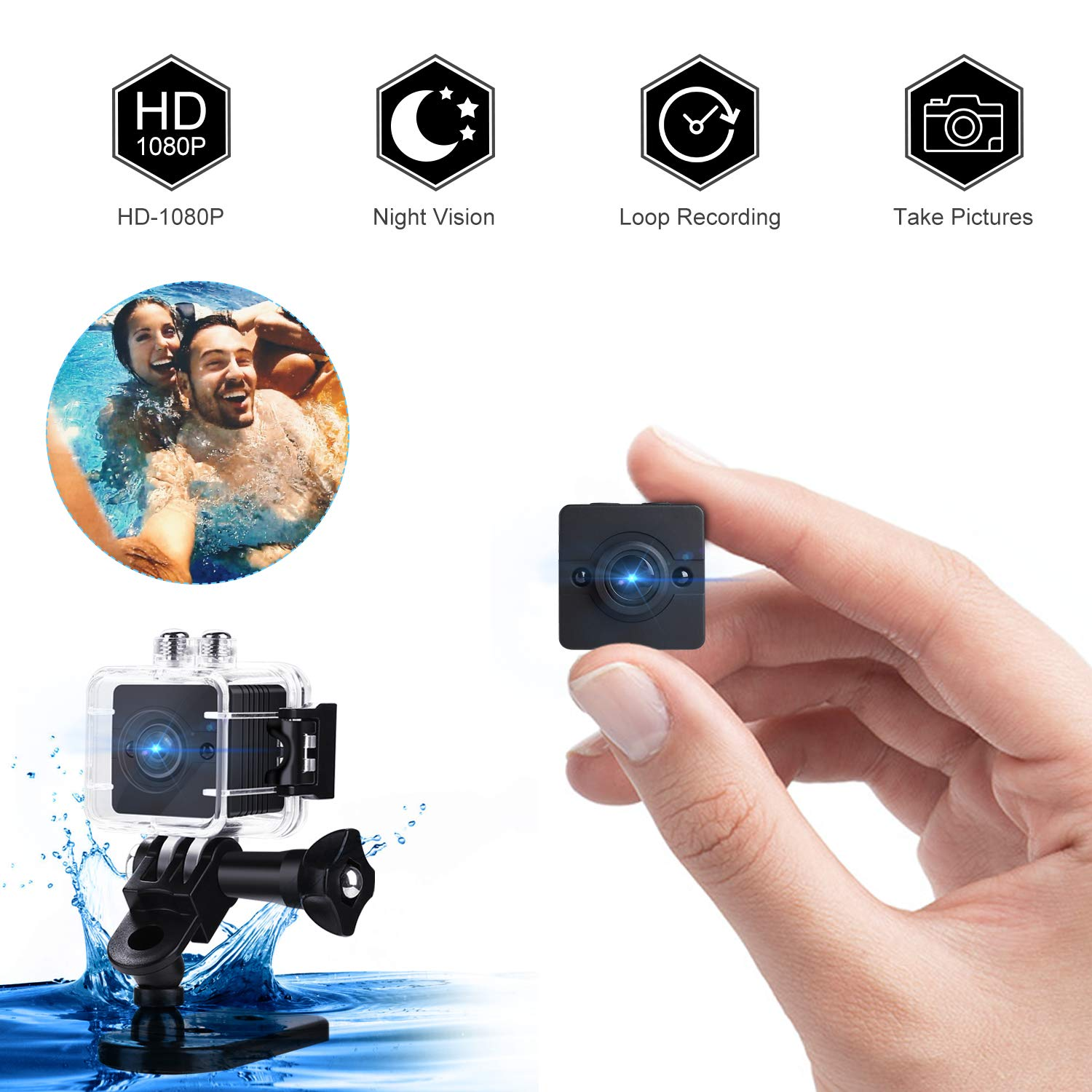Mini Spy Hidden Camera, Waterproof Portable Hidden Camera CMOS Image Processing Technology Tiny Spy Camera,1080P HD Nanny Cam – Security Camera for Home Surfing Snorkeling Biking and Camping
