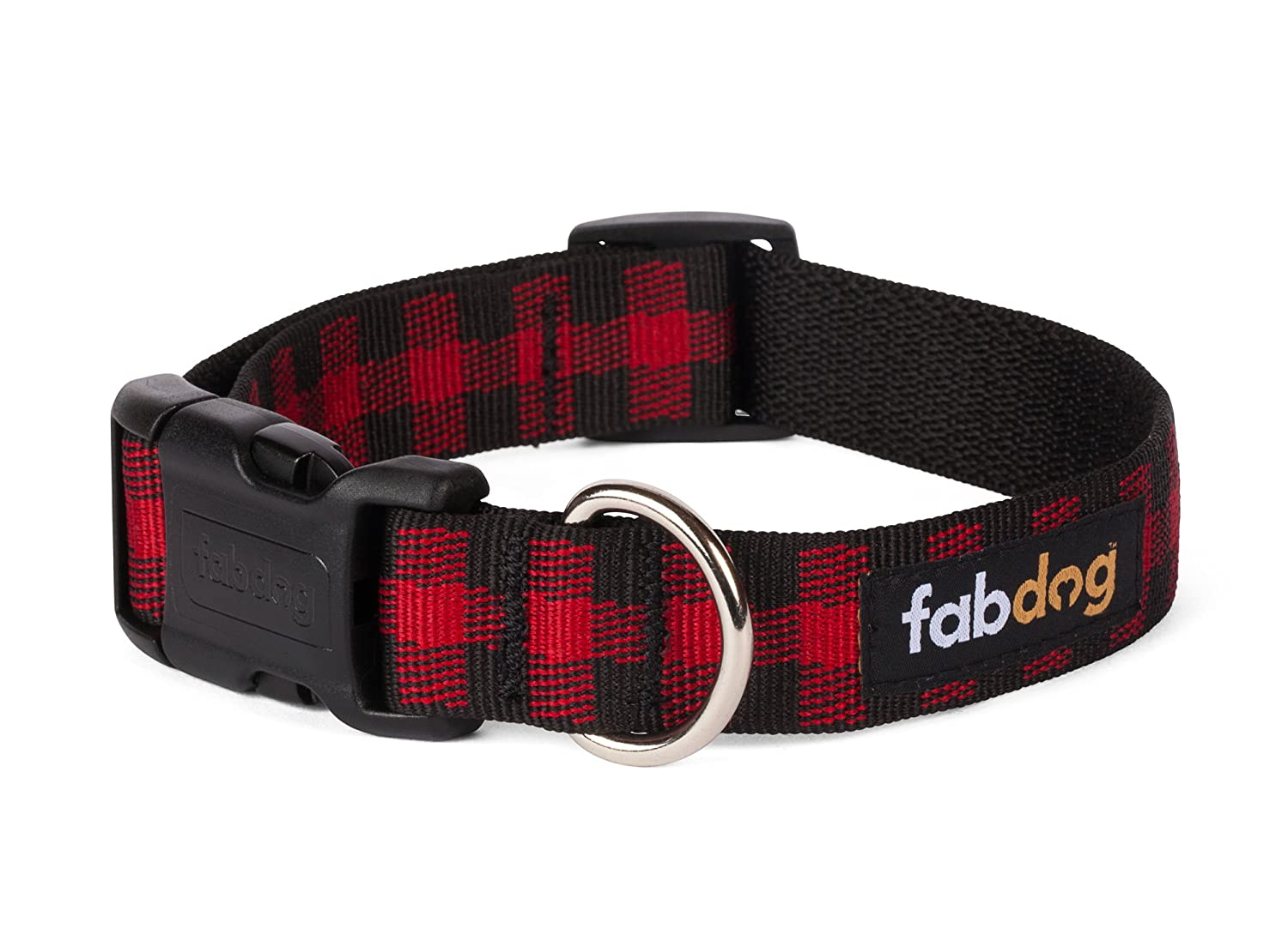 Fabdog Buffalo Check Dog Collar Red (Small)