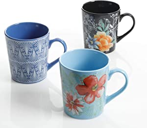 Gibson Home Floral Garden 3 Pack 23 Ounce Mug Set, Assorted Designs