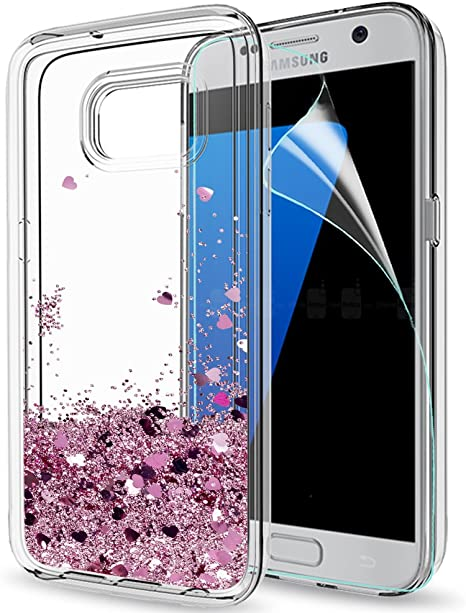 LeYi Funda Samsung Galaxy S7 Silicona Purpurina Carcasa con HD Protectores de Pantalla,Transparente Cristal Bumper Telefono Gel TPU Fundas Case Cover Para Movil Galaxy S7 ZX Oro Rosa: Amazon.es: Electrónica