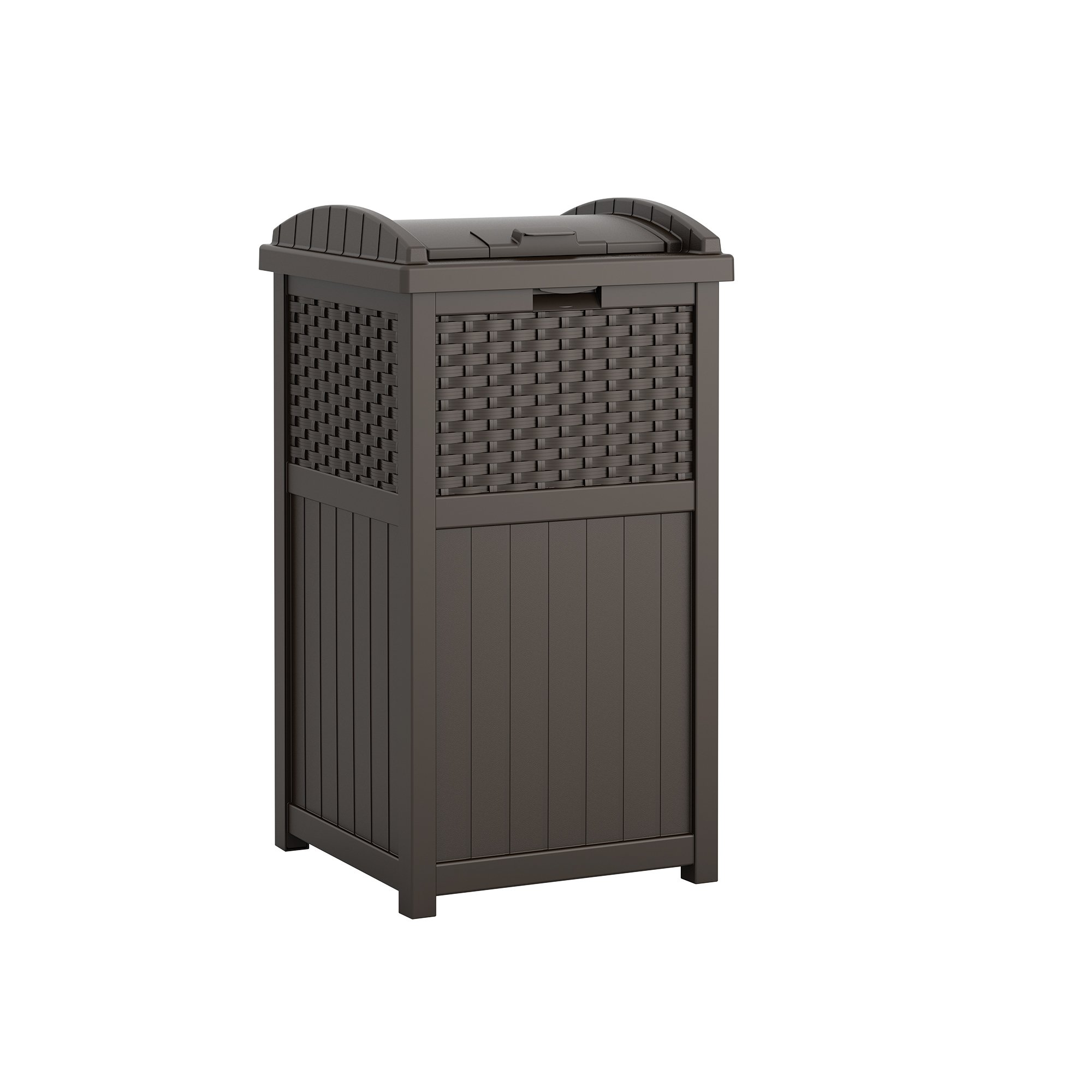 Suncast 33 Gallon Outdoor Trash Can for Patio - Resin Outdoor Trash Hideaway with Lid - Use in Backyard, Deck, or Patio - Brown by Suncast