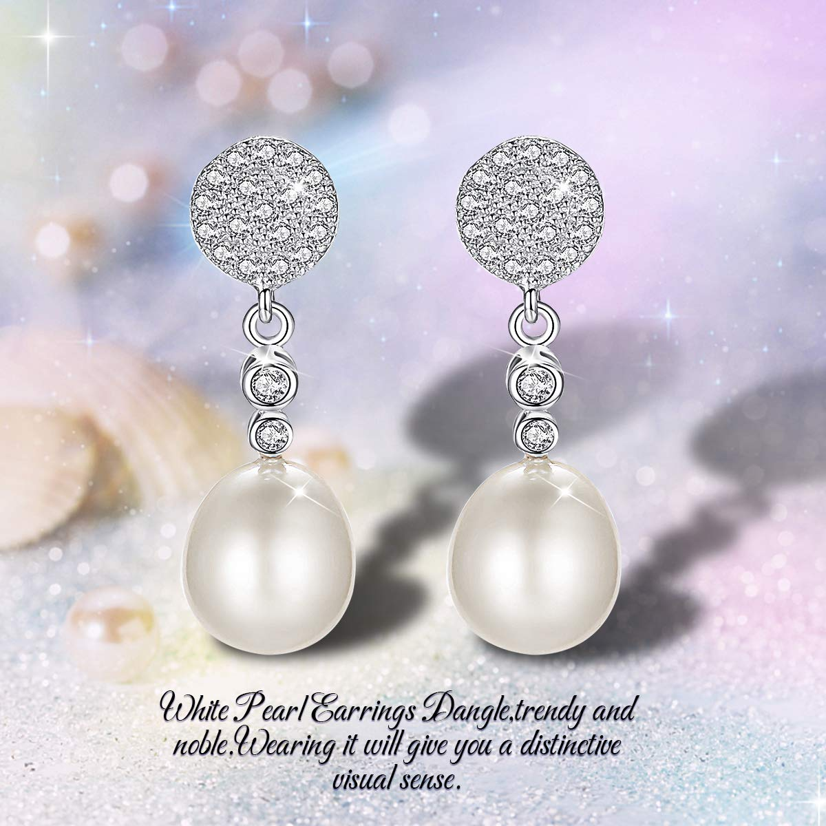 PEARLOVE Cubic Zirconia Pearl Pendant Earrings Freshwater Pearl Earrings Girl and Lady Jewelry