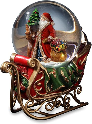 Santa with Reindeer and Sleigh Water Globe San Francisco Music Box Company