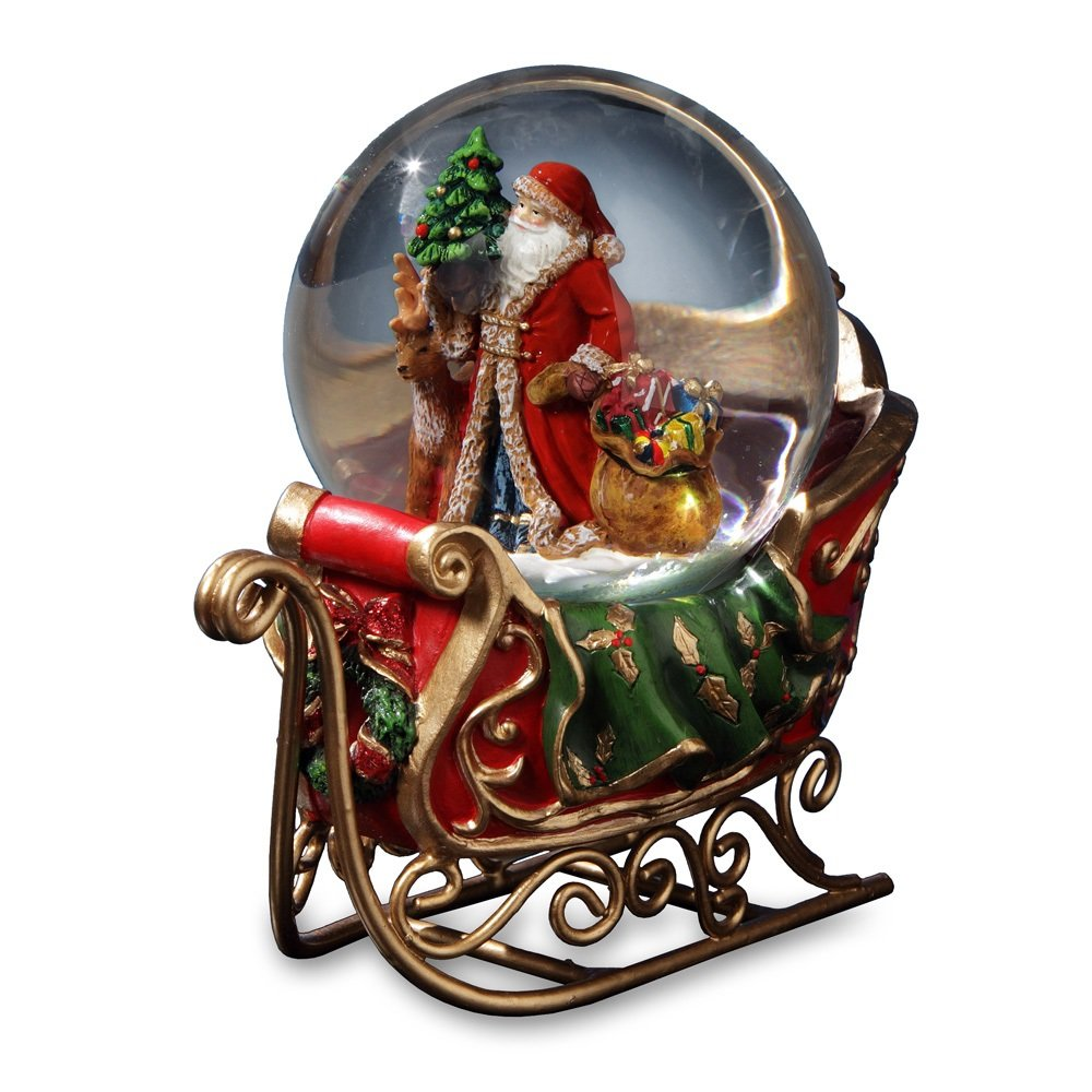 Santa with Reindeer and Sleigh Water Globe San Francisco Music Box Company by The San Francisco Music Box Company