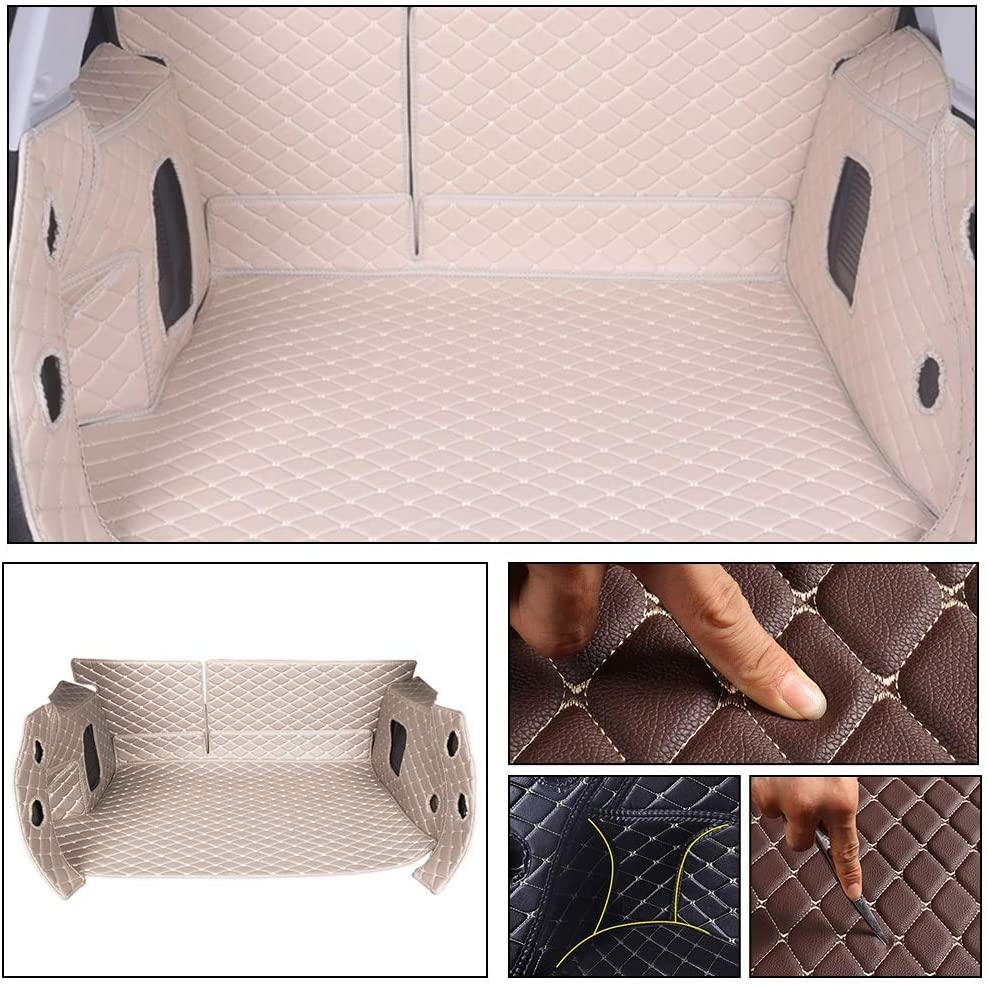 Longzhimei Leather Car Trunk Mats for Jaguar F-PACE 2016-2018 Full Covered Car Boot Liner Protector Cover Cargo Liner Set Anti-Slip Brown