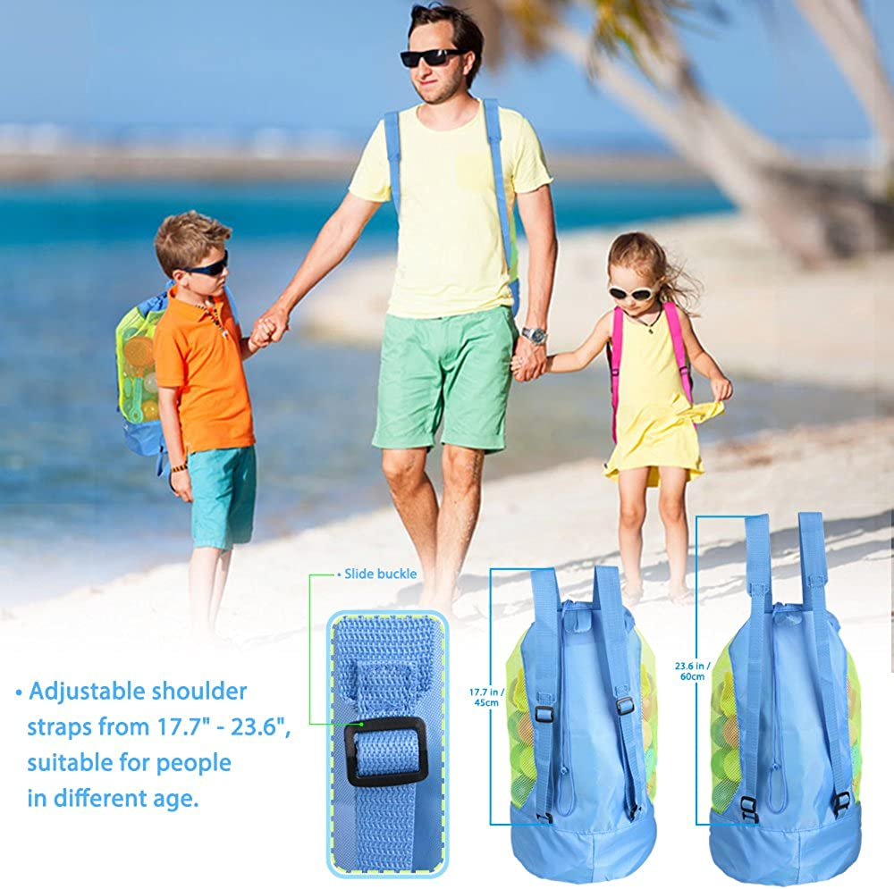 Blue Ruikey extra large Family mesh bag Sand away Beach Toys bag large Tessuto Oxford
