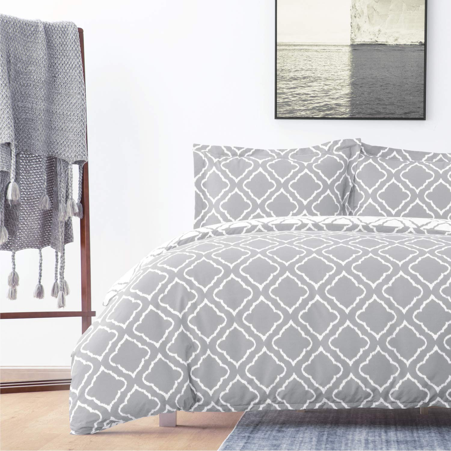 Bedsure Bedding Printed Duvet Cover Set Twin Size 68x90 inches Grey 2 Pieces 1 Duvet Cover  1 Pillow