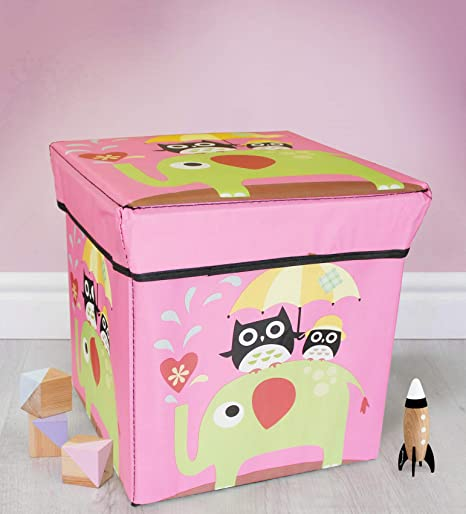 TIED RIBBONS Toys Storage Box Stool for Kids Under Lid Padded Seat (30 cm X 28.5 cm X 28.5 cm, Multicolor)