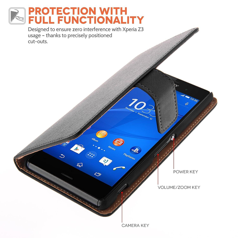 Sony Xperia Z3 Caseflex negro genuina piel con lápiz ...