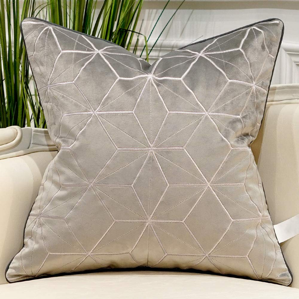 Avigers 20 x 20 Inches Grey Silver Plaid Cushion Cases Luxury European Throw Pillow Covers Decorative Pillows for Couch Living Room Bedroom Car