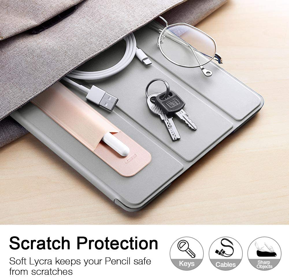 Stylus Pens Protected and Safe 1st and 2nd Gen Silver Grey Pouch Adhesive Sleeve Attached to Case for Stylus Pens Elastic Pocket ESR Pencil Holder Compatible with The Apple Pencil