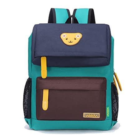 Willikiva Cute Bear Kids School Backpack for Children Elementary School Bags Girls Boys Bookbags Dark Blue Coffee Green, Large