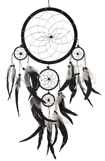 "da6e42beb9a1d Dream Catcher ~ Handmade Traditional Black, White & Silver 8"" ..."