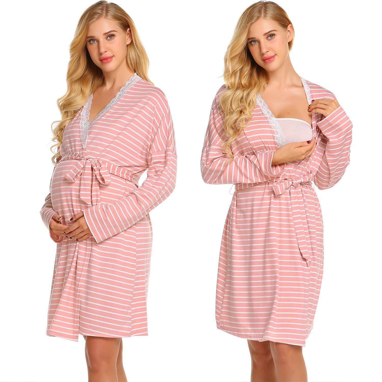 Ekouaer Womens Maternity Pregnancy Labor Robe Delivery Nursing Nightgowns Hospital Breastfeeding Gown S-XXL by Ekouaer